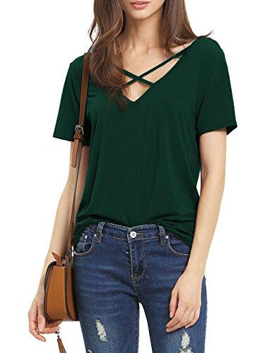 Suimiki Damen Sommer Kurzarm T-Shirt V-Ausschnitt mit Schnürung Vorne Oberteil Tops Bluse Shirt (XL, Dunkelgrün)