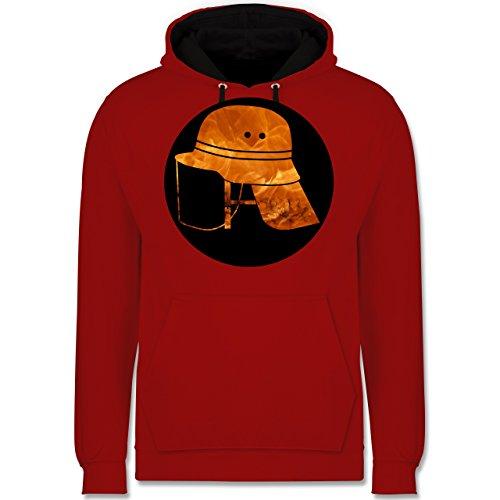 Feuerwehr - Feuerwehr Helm Flammen - Kontrast Hoodie Rot/Schwarz