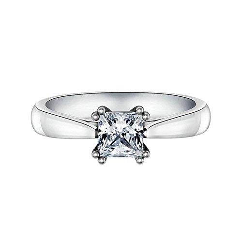 (Custom Ringe)Adisaer Ring 925 Sterling Silber Damen Vier Klaue Kristall Platz Strass CZ Verlobungsring Größe 52 (16.6) Kostenlos Gravur (Pharao Kostüm Muster)