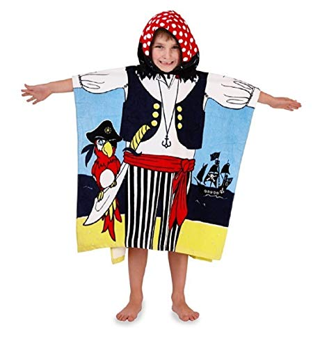 Boys Girls Unisex Kids Childrens 100% Cotton Hooded Beach Bath Towel Swimming Cover Up Poncho Super Soft Character Themed Sun Protection
