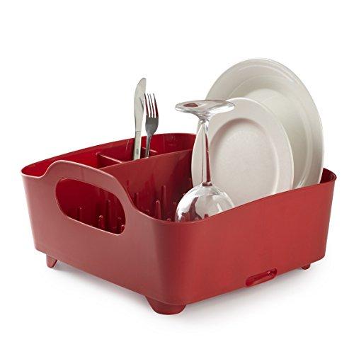 Umbra Tub Geschirr Abtropfgestell - Abtropfkorb mit integriertem Tropfwasserabfluß für Ihre Spüle oder Arbeitsfläche in Ihrer Küche Zuhause, im Büro oder Wohnwagen, Kunststoff / Rot