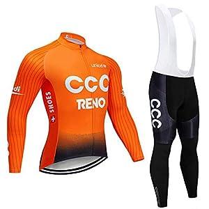 41DhdpcpIJL. SS300 ADKE Uomo Completo Ciclismo, Maglia Ciclismo Maniche Lunghe + Pantaloni Ciclismo Lunghi per MTB