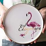 Happiness Tableware LIXUE Flamingo-Geschirr Keramik Western Steak Mahlzeit Nordische Frühstücksteller mit Goldrand (Color : Flamingo - Flowers, Size : 10 inches)