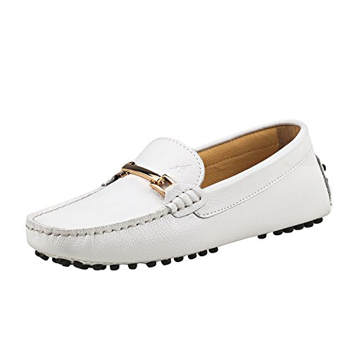 Shenduo Mokassins Damenschuhe Freizeit Slipper Casual Leder Halbschuhe D7067 Weiß 39