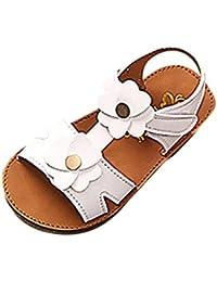 PAOLIAN Zapatos para Niñas Verano Sandalias de Vestir Floral Plano Suela Blanda Fiesta Princesa Calzado Playa