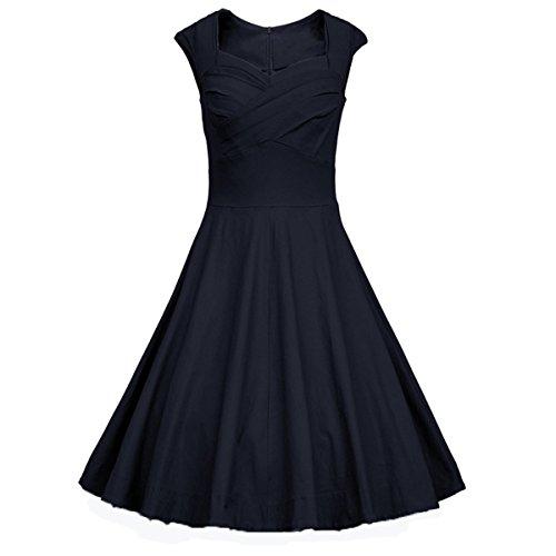Ecollection Damen Audrey Hepburn 50s Retro vintage Bubble Skirt Rockabilly Swing Evening Kleider Navy Blue