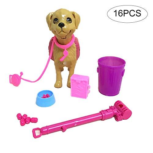 e0a317d5ca0d15 NiceButy 16PCS / Set Barbie Pet Pacchetto Ciotola del Cane Alimentazione  Giocattolo Bone per Barbie Doll Mobili Regalo Bambola Accessori Giocattolo  di ...