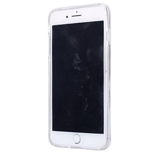 iPhone 7 Plus Hülle Case,iPhone 7 Plus Schutzhülle Bumper,Ekakashop Modisch Durchsichtig Ultra dünn Slim 2 in 1 Transparent Delphine Schwimmen Muster Weiche TPU + PC Silikon Crystal Klar Flexible Gel  Sonnenblume Blauen Rand
