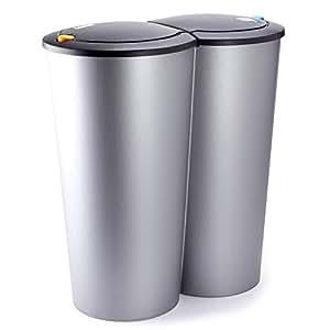 Poubelle double compartiment 2x25 litres bouton - Poubelle double compartiment ...