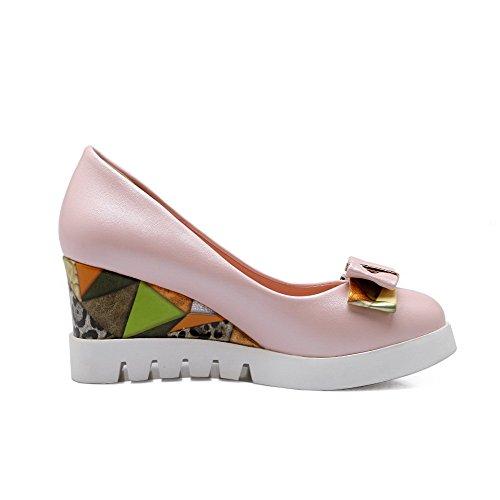 AgooLar Damen Ziehen Auf Pu Leder Rund Zehe Hoher Absatz Rein Pumps Schuhe Pink