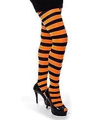 Pamela Mann Collants Rayés (Noir/Orange Fluo) - Taille Unique