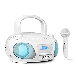auna Roadie Sing • CD Radio • Stereo System • Boombox • CD Player • USB Port • MP3 • FM Radio Tuner • Bluetooth 3.0 • LED Lighting • Mains and Battery Operation • Sing-A-Long Function • White