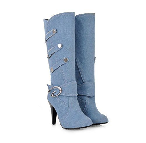 WYWQ Fine High-Heeled Mid-Calf Donna Donna Cavaliere Stivali Fibbia della cintura Autunno e Inverno Stiletto Nuovi stivali alti in denim light blue