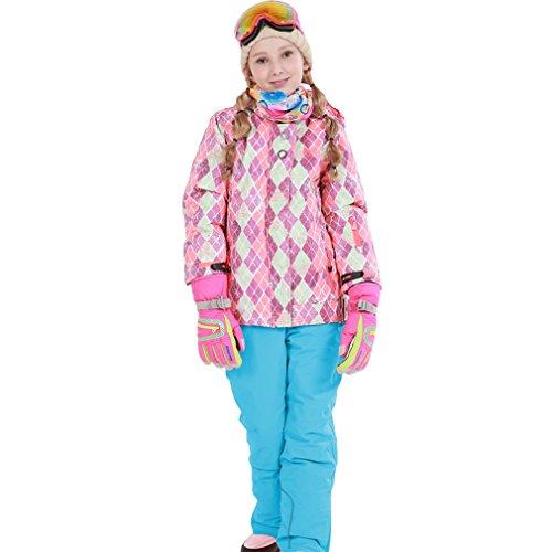 emansmoer Kinder Mädchen Wintersport Baumwolle gepolstert Skianzug Winddicht Fleecefutter Mantel Skijacke mit Snowboardhose Salopettes (158/164, Rosa(81612) + Blau)