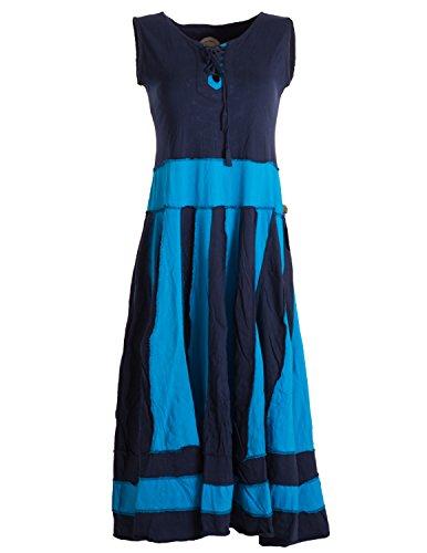 Langes Sommerkleid aus Baumwolle ohne Ärmel Blau 34 (Gipsy Girl Kostüme)