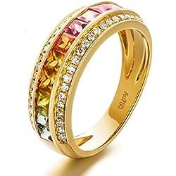 AMDXD Joyería Oro 18K Anillo de Bodas para la Novia 2 Filas 1.339ct Diamante con Princesa Cortar Rubí Zafiro Tamaño 18,5