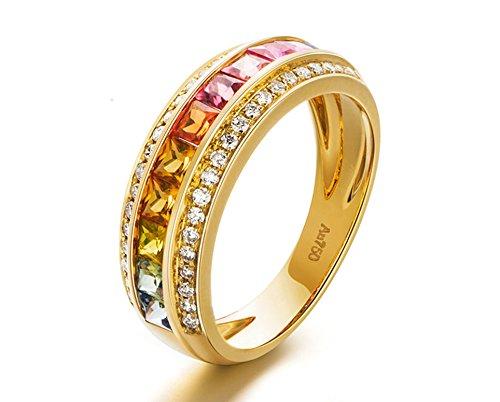 Beglie 18K Damen Ehering Weißgold 1.339ct Quadrat Saphir Regenbogen 2 Reihe Diamant 750 Rosegold Ring Eheringe Gold für Frau Armband Damen Zart Größe 49 (15.6)