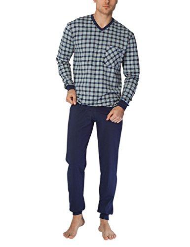 Calida Herren Zweiteiliger Schlafanzug Bill Pyjama mit Bündchen Mehrfarbig (Dark Blue 449)