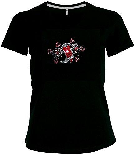 Preisvergleich Produktbild elegantes Damen Shirt Westernstiefel mit Hufeisen kristall rot Cowgirl Western Line Dance Shirt V-Ausschnitt, T-Shirt, Grösse M, schwarz