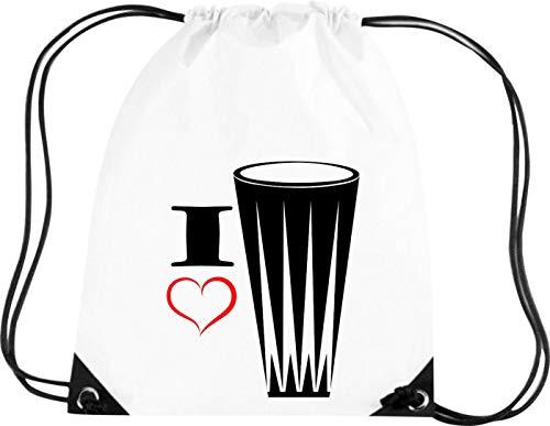 Shirtstown Premium Gymsac Musik I Love Gonga Handtrommel, White