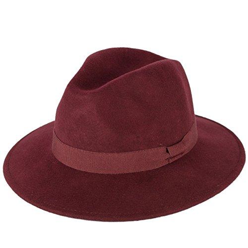 Men's Ladies Fedora Hat Plain Handmade - Fine Felt - Grosgrain Bow Style Band - Burgundy Wine (Man Hats)