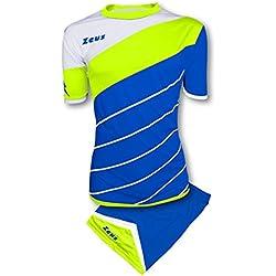 Zeus Kit Lybra Equipaciòn para el Fùtbol y el Voleibol Para Hombre Sport Pegashop Colour Eléctrico Royal-Amarillo Fluorescente (M)