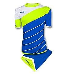 Idea Regalo - Kit Zeus Lybra Uomo Electric Royal-Giallo Fluo-Bianco Completino Completo Calcio Calcetto Torneo Scuola Sport Training Volley Pegashop (S)