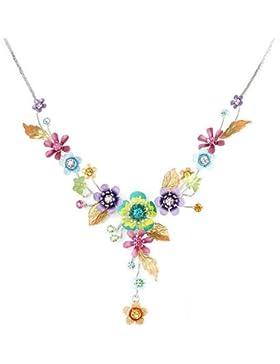 Glamorousky Bunten Blumen Und Kleinen Schmetterling Halskette Mit Multi-Color- Austrian Elements -Kristallen (...