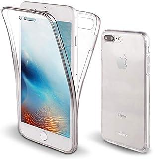 Moozy 360 Grad Hülle für iPhone 8 Plus, iPhone 7 Plus - Vorne und Hinten Transparenter TPU Ultra Dünn Weiche Silikon Handyhülle Case