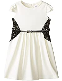 Us Angels Little Girls' Ponte Dress with Lace Belt and Full Skirt