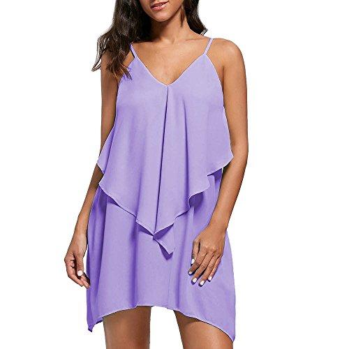 Yesmile Kleid Damen V-Ausschnitt Sling Kleid Schulterfrei Minikleid Dress Sling Kleid Sommerkleid Einfarbig Freizeit lose Strandkleid