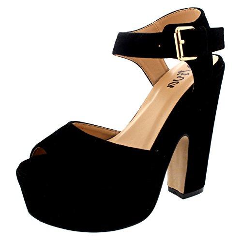 Donna Caviglia Cinghia Scarpe Piattaforma Tacchi Faux Camoscio Sandali Nero