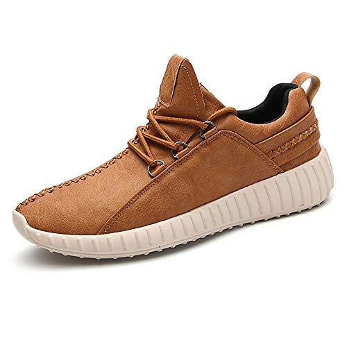 Leder-walking-sneakers (PAMRAY Sneaker Sport Jogging Walking Schuhe Vegane Leder Trekking Herren Laufschuhe Lace-up Wanderhalbschuhe Casual Footwear Braun 41)