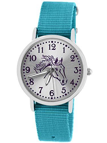 Pacific Time Mädchen Uhr Pferde analog Quarz mit Textil Wechselarmband hell blau 10308
