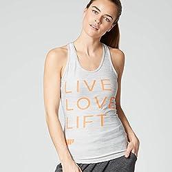 mypr otein Mujer Women 's Performance Eslogan Vest Tirantes, Todo el año, Mujer, Color Gris, tamaño 6 UK