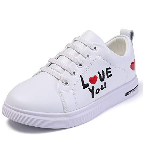 Zapatillas de Deporte Blanco para Las niñas, Harpia Moda única Baja Zapatos de Estiramiento Correas Casuales Escuela Ocasional Deportes Zapatillas para Adolescentes Zapatos Planos (Blanco, 35 EU)