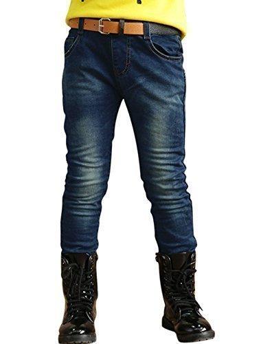 sourcingmap® Ragazzo Medio Alta Tasche Frontali Applicazione Retro Jeans Aderenti - cotone, Blu, 100% cotone, (Frontale Jeans Aderenti)