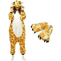 Casa Jirafa Onesie Pijamas Kigurumi Animal Unisexo para Adultos Traje de Cosplay Disfraz para Festival de Carnaval Halloween Navidad Pijama y zapatos , Zapatos de talla 35-40cm