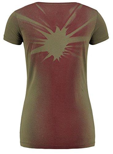 Key Largo Damen T-Shirt WT Melina Kurzarm Vintage Farbverlauf Stern Strasssteine Sommershirt Oliv