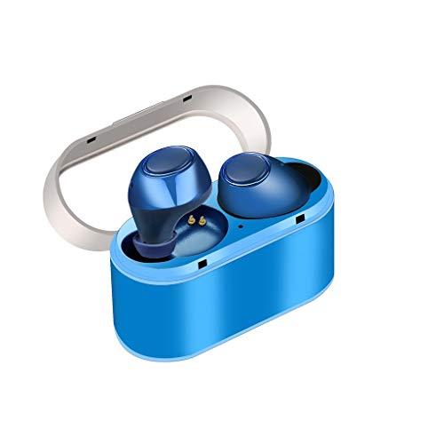 Happysdh Bluetooth Kopfhörer in Ear,TWS26 Bluetooth 5.0 Sport Headset Kabellos TWS Ohrhörer Sportkopfhörer,Wasserdicht HiFi Stereo Noise Cancelling Earbuds mit Mikrofon für Android iPhone (Blau)