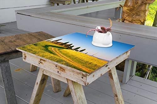 Wallario Aufkleber Selbstklebende Garten-Tisch-Decke - Villa in der Toskana in 100 x 100 cm -