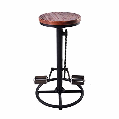 Counter Höhe Esszimmer-möbel (Swivel Bar Hocker Pub Home Industrial Vintage Stil Pedal Massivholz Sitz Cafe Counter Hochstühle Esszimmer Fahrrad Form Einstellbare Höhe 63-73 cm)