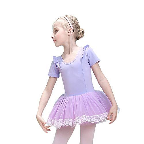 Tanz Zeitgenössische Kostüm Für - Kleid für Kind Kinder Mädchen Kurzarm Tüll Tutu Röckchen Trikot Rüschen Baumwolle Skating Performance Tanz Ballettkleid Gymnastik Ballerina Dancewear Kostüme Modernes zeitgenössisches lyrisches Kleid