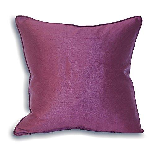 Riva Paoletti Fiji Federfüllung Purple-Faux Silk-Matching Paspel Edge-Reversible-Hidden Zip closure-100% case-Machine washable-43X 43cm (43,2x 43,2cm Zoll), Polyester, 43x 43cm, aubergine -