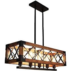 Lingkai Industrial Iluminación de techo vintage Iluminación colgante Retro Lámpara de madera Acabado en negro Rústico Lámpara de techo industrial Edison industrial Araña 5 luces