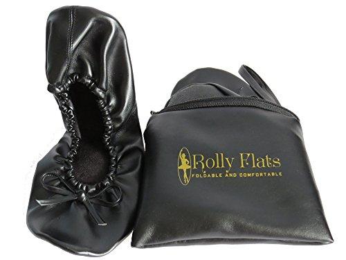 Rolly Flats Foldable Tragbar Ballet Schuhe mit der Beutel (EU 38-39 / Medium, Schwarz) - Womens Casual Ballet Flat