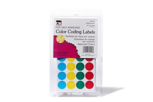 Charles Leonard puntos de codificación de Color etiquetas, 3/4pulgadas de diámetro, varios colores, 1000Etiquetas/Unidades, 6paquetes (45100)