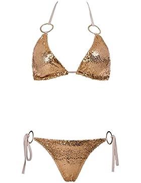 Venta caliente bikini! ❤Ba Zha Hei 2018 caliente alto cuello halter bikini conjunto traje de baño backless bikini...