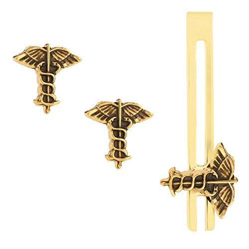 TRIPIN GOLDEN MEDICAL DOCTOR SYMBOL CUFFLINK SET WITH MATCHING TIE PIN IN...