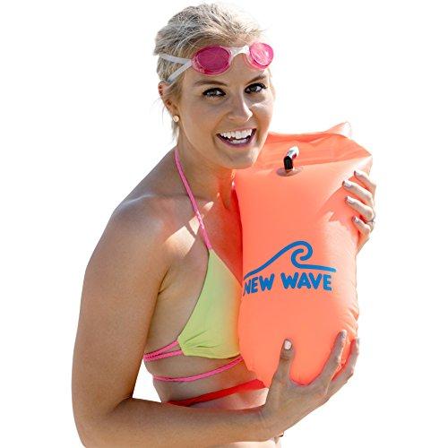 New Wave Schwimmboje für Openwater Schwimmer und Triathleten - Visible Float für Training und Wettkampf (Orange PVC Medium-15L)